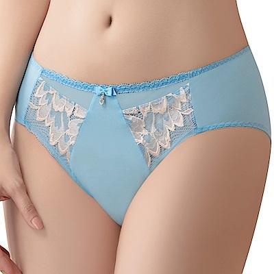 思薇爾 撩波羽晶伶系列M-XXL蕾絲中腰三角內褲(湛浠藍)