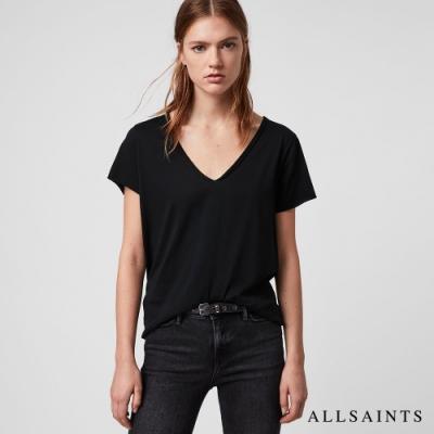 ALLSAINTS  EMELYN TONIC 日常舒適素色V領純棉短袖T恤-黑