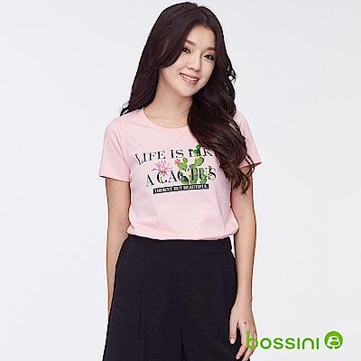 bossini女裝-印花短袖T恤36粉橘