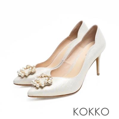 KOKKO-浪漫尖頭小香風珍珠真皮高跟鞋-香檳金