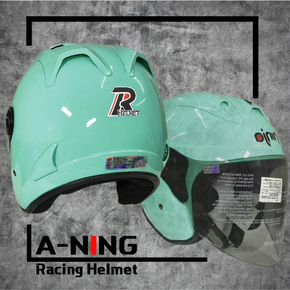 A-NING 時尚R帽 類經典Arai安全帽 雙導流 貓耳 外銷日本式樣款 機車 K1 (天使綠)