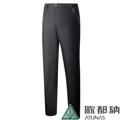 【ATUNAS 歐都納】男款戶外休閒防水透氣天鵝絨保暖長褲A-PA1822M黑