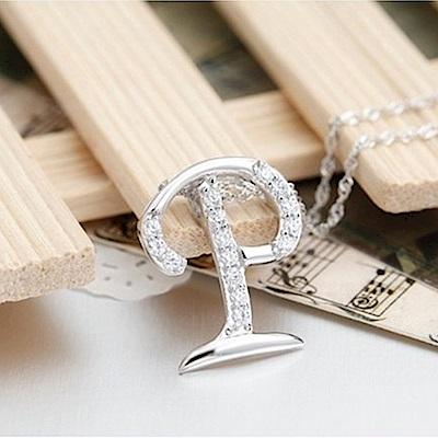 米蘭精品 925純銀項鍊-時尚簡約P英文字母