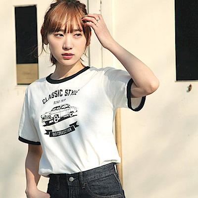 短袖T恤滾邊撞色文字短T(10色) ZIP日本男裝
