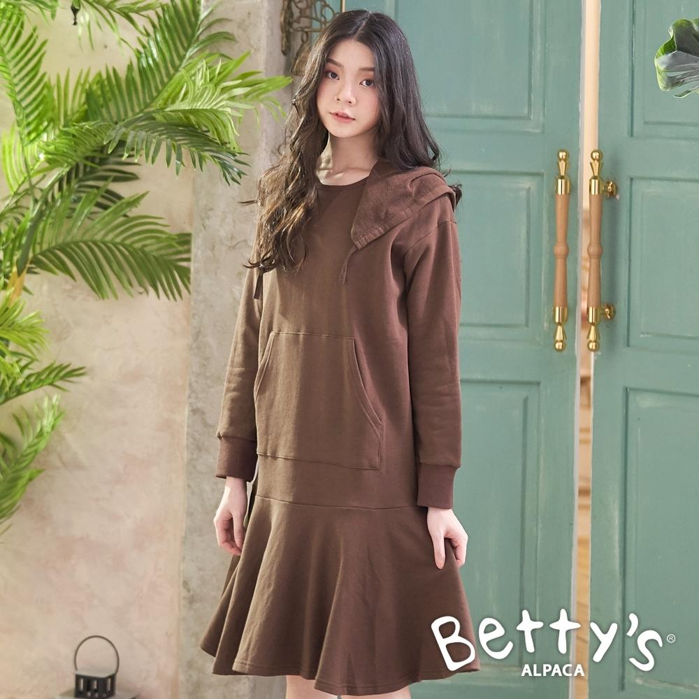 betty's貝蒂思 帽內印花下襬荷葉拼接洋裝(咖啡色)
