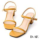 D+AF 夏日美型.一字細帶方頭中跟涼鞋*黃