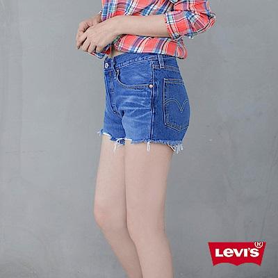 Levis 女款 501 排釦牛仔短褲 不規則抽鬚不收邊