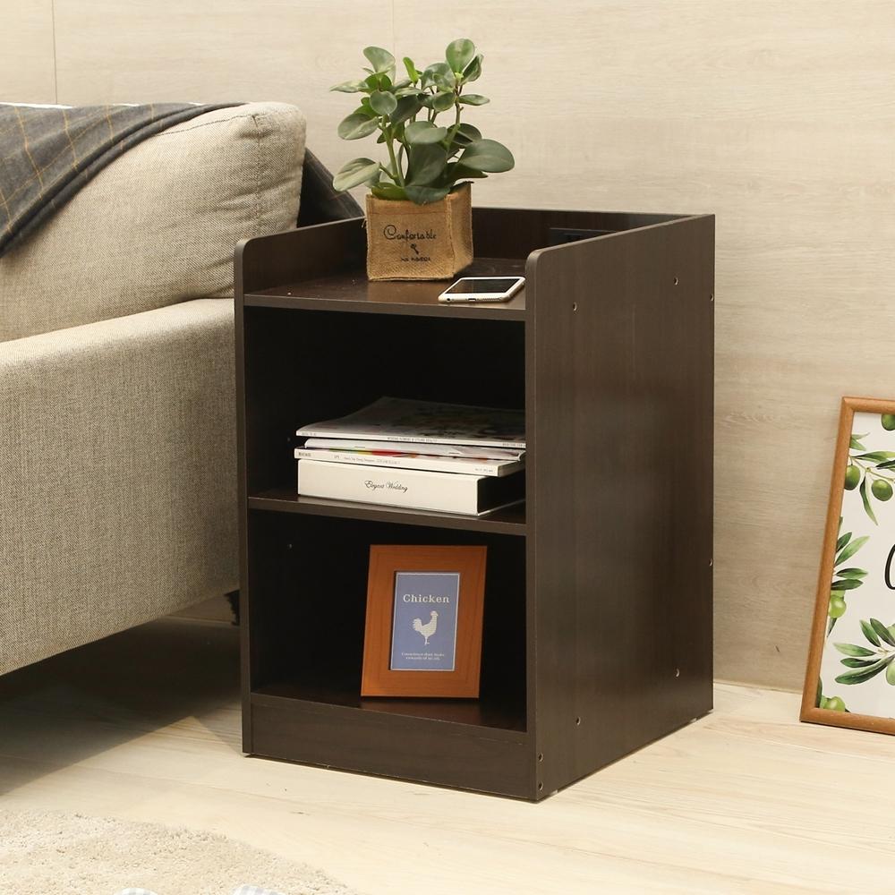 澄境 萬用百搭雙插座二格床頭櫃/收納櫃/茶几40X40X60.5cm-DIY