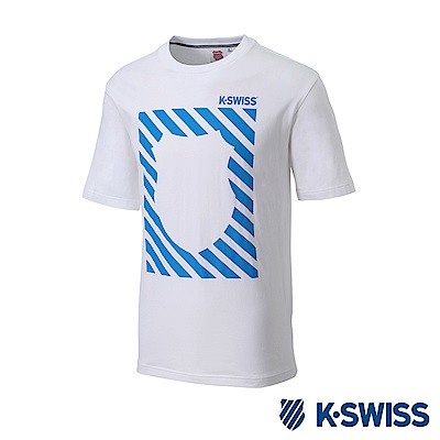 K-SWISS Jersey T-Shirt印花短袖T恤-男-白