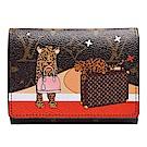 LV M63326 Victorine經典帆布印花頑皮貓科動物攜著手袋圖案三折暗釦短夾