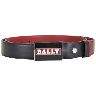 BALLY 黑紅配色字母徽標方型釦式雙面用牛皮腰帶