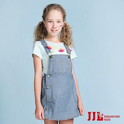 JJLKIDS 經典復古大口袋純棉吊帶牛仔裙(牛仔藍)