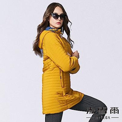 【麥雪爾】時尚黃壓紋立領連帽羽棉外套
