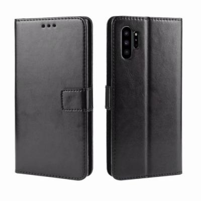 PKG 三星Note10(6.3吋)側翻式皮套-經典皮套系列-黑色