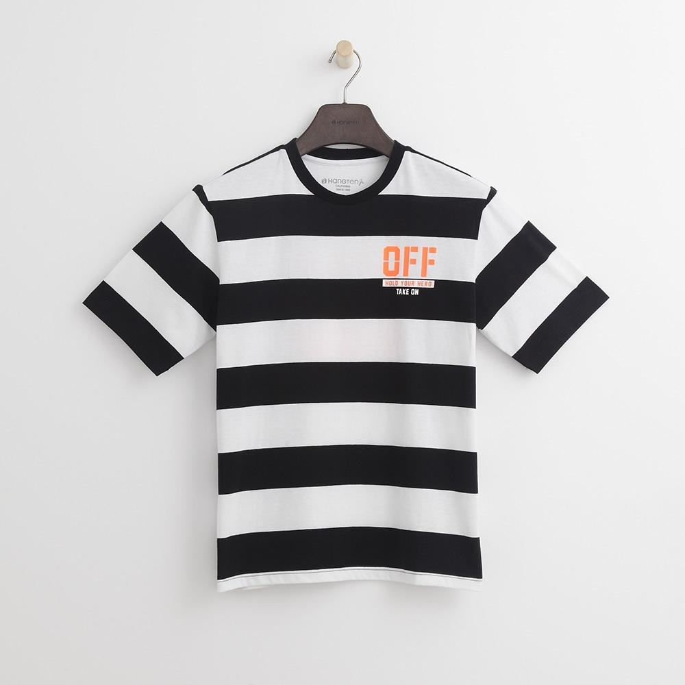 Hang Ten-青少童裝-條紋潮流T恤-白