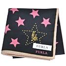 FURLA 繽紛星星圖騰品牌字母LOGO帕領巾(黑/粉邊)