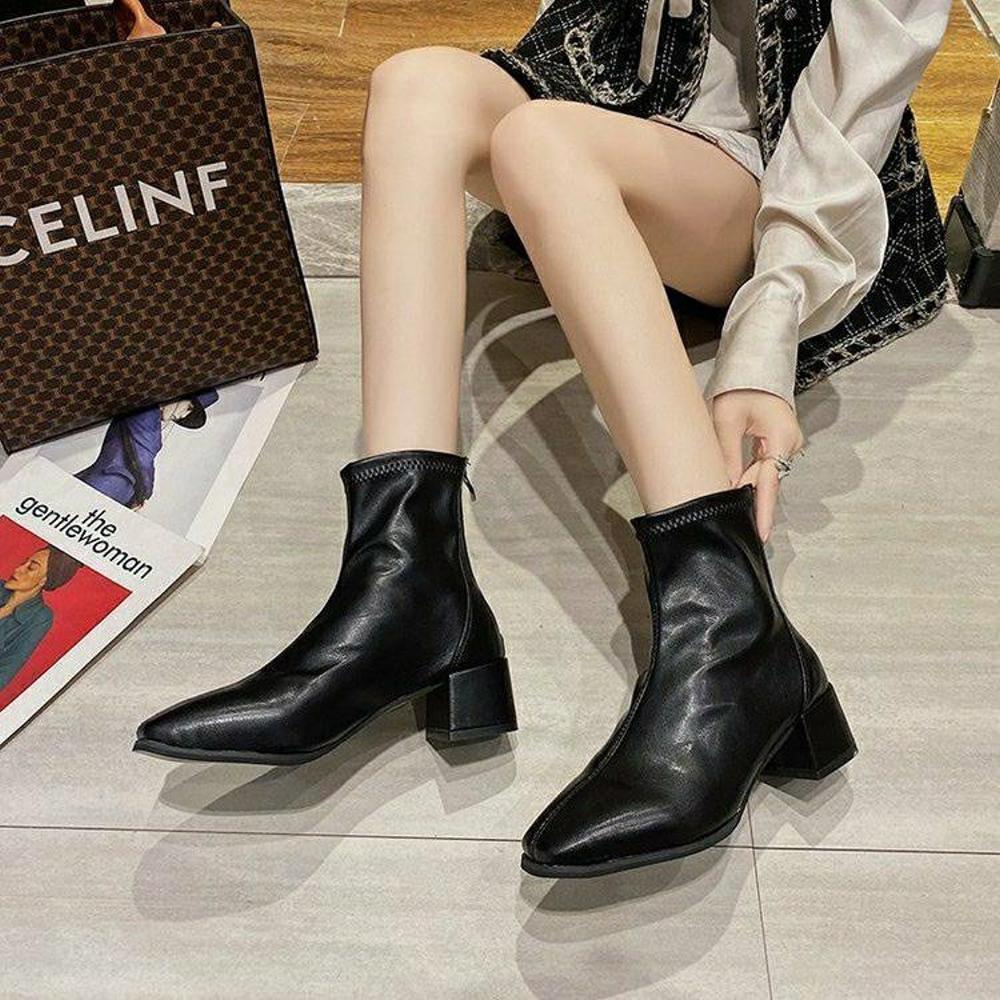 River&Moon韓系軟皮方頭造型粗跟靴 黑(36碼-43碼)