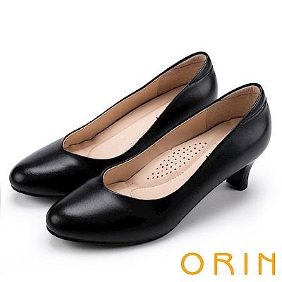 ORIN 都會時尚OL 嚴選牛皮典雅素面中跟鞋-黑色