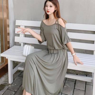 La Belleza莫代爾棉露單肩帶縮腰垂墬感棉質長洋裝