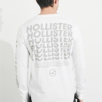 海鷗 Hollister 經典文字印刷設計長袖T恤-白色