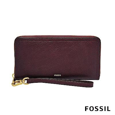 FOSSIL LOGAN 真皮系列拉鍊零錢袋長夾-暗紅色