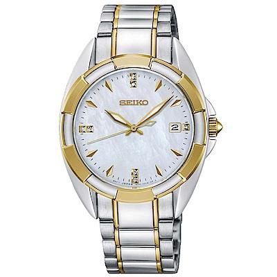 SEIKO精工 奢華晶鑽白蝶貝藍寶石夜光石英女錶(SKK886P1)-白x34mm