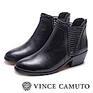 VINCE CAMUTO 個性側編織中跟短靴-黑色