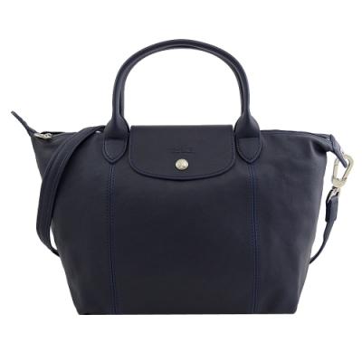 LONGCHAMP Le Pliage Cuir小羊皮兩用手提包(深藍/小)