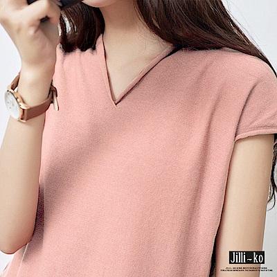 JILLI-KO 冰絲薄款針織T恤- 粉/黃/淺藍