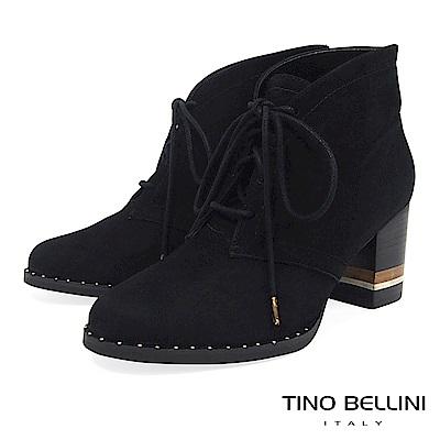 Tino Bellini 巴西進口斜口金屬綁帶高跟短靴 _ 黑