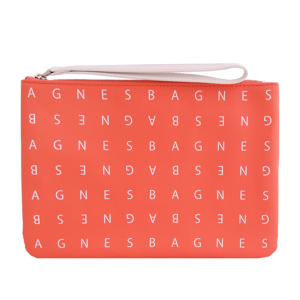 agnes b. LOGO標誌PU手拿包(小/橘紅) @ Y!購物