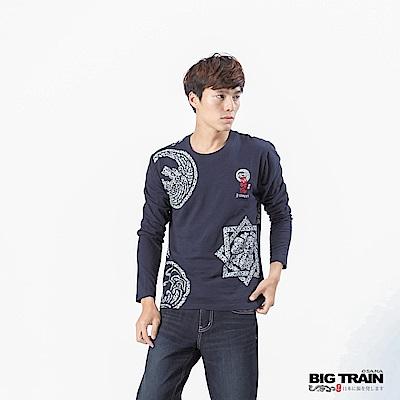BIG TRAIN 家徽武將魂圓領長袖-男-深藍