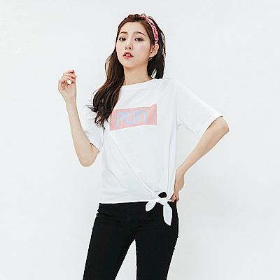 H:CONNECT 韓國品牌 女裝-活力印字綁結造型上衣-白