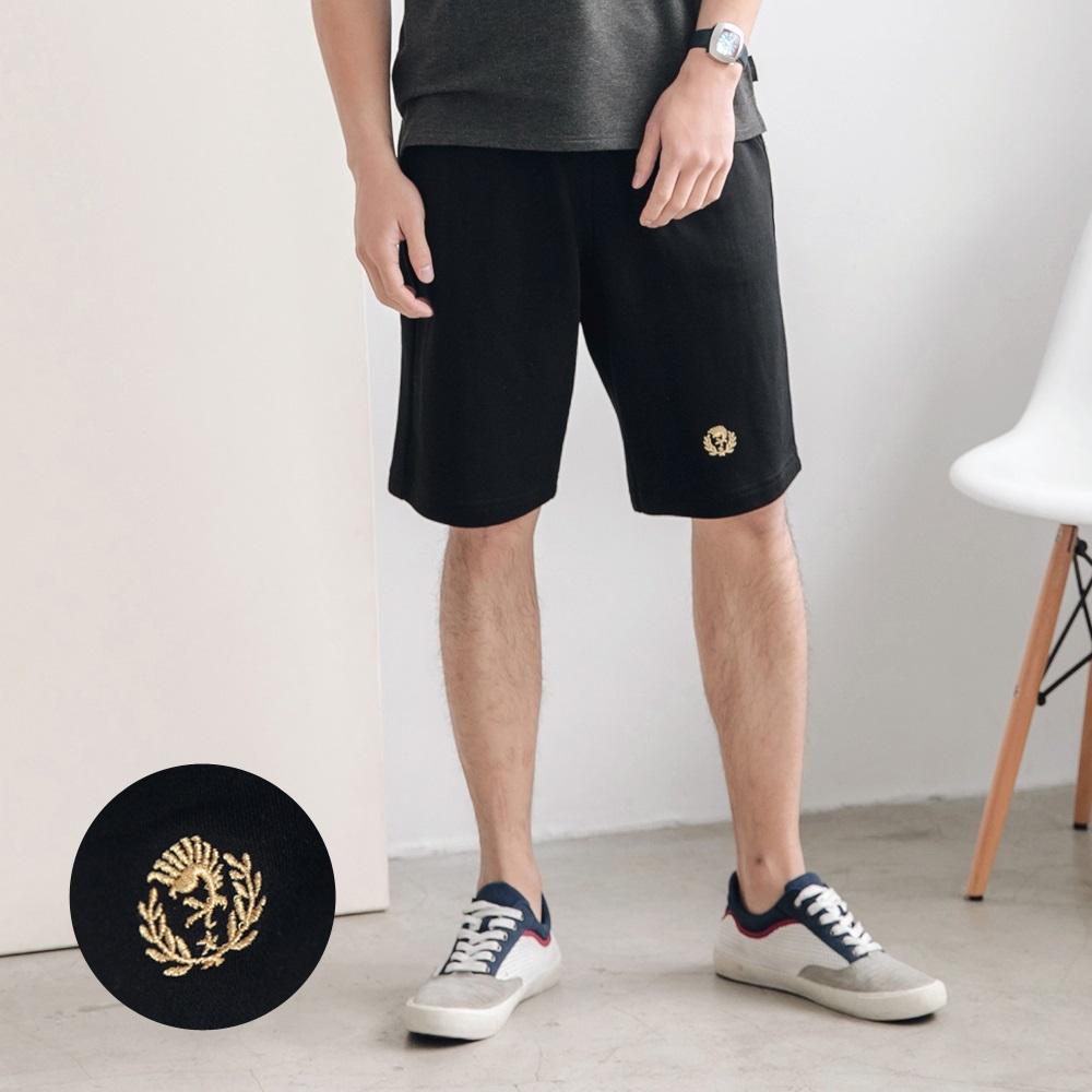 高含棉鬆緊撞色腰頭細膩刺繡短褲-OB大尺碼 product image 1