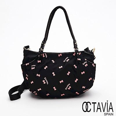 OCTAVIA 8 - 蝴蝶姐姐  牛皮肩帶繡花半月多層水餃包 - 飛非黑