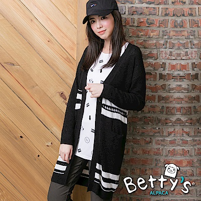 betty's貝蒂思 條紋配色單釦針織罩衫(黑色)