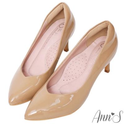 Ann'S魔術軟漆V口顯瘦低跟尖頭包鞋-杏(版型偏小)
