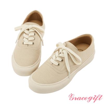 Grace gift-百搭圓頭綁帶平底休閒鞋 卡其