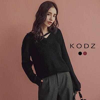 東京著衣-KODZ IG爆款V領線條設計感針織上衣(共二色)