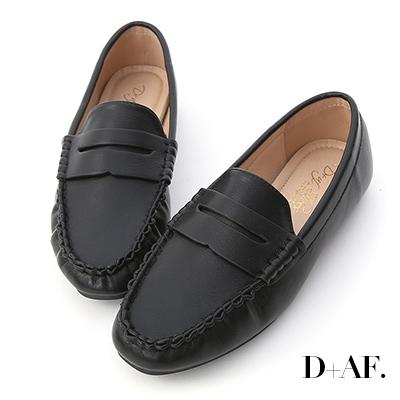 D+AF 質感推薦.經典款超軟平底樂福鞋*黑
