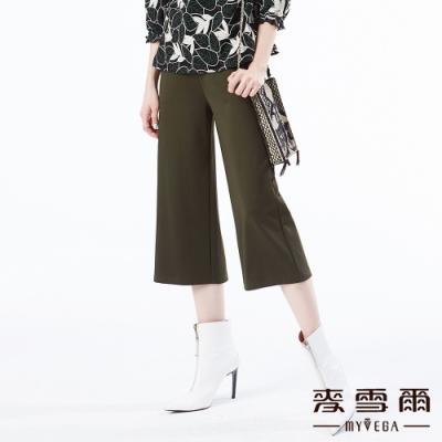 【麥雪爾】棉質正面鈕扣彈性腰身八分寬褲-綠