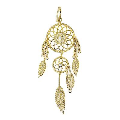 apm MONACO法國精品珠寶 閃耀金色鑲晶鑽捕夢網造型單邊長耳環