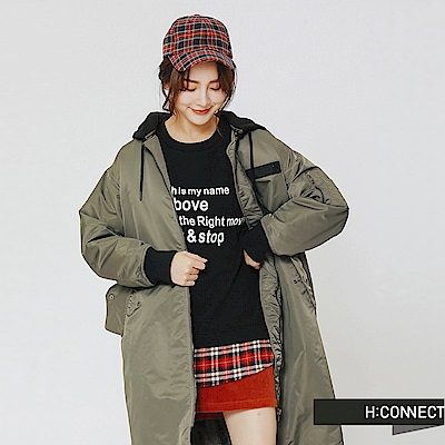 H:CONNECT 韓國品牌 女裝-連帽長版飛行外套-綠