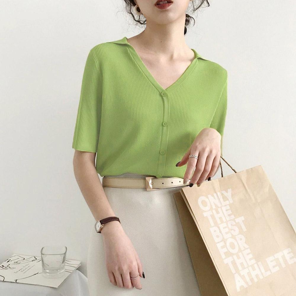 ALLK 歐楷 超彈力鈕扣針織上衣 共5色(尺寸F 任選) (綠色)