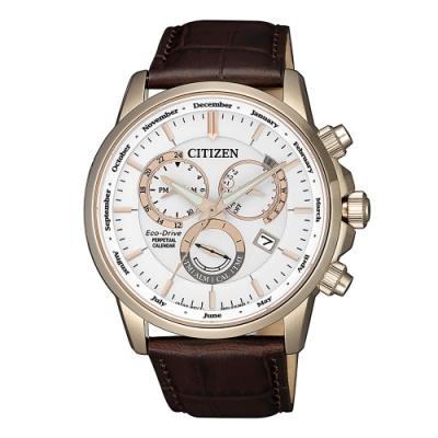CITIZEN 卓越質感萬年曆光動能腕錶BL8153-11A
