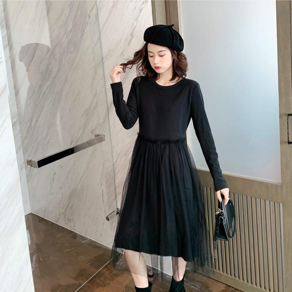 中大尺碼法式氣質圓領拼接網紗裙擺層次洋裝L~4L-Ballet Dolly