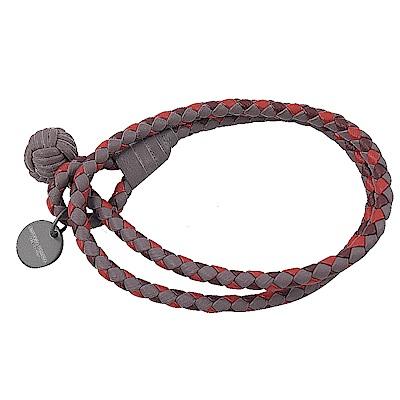 BOTTEGA VENETA拼色經典編織雙圈皮革手環(粉芋/紅)