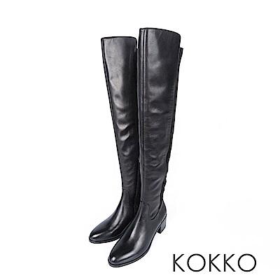 KOKKO - 逆天顯瘦真皮貼腿過膝長靴 -亮眼黑