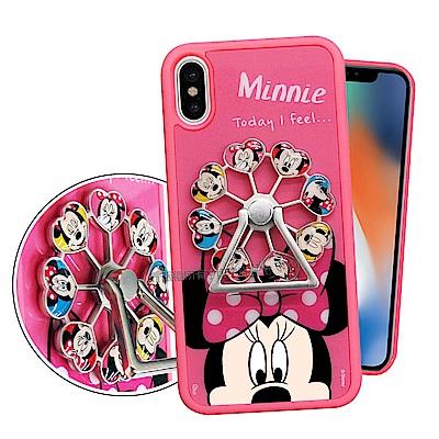 迪士尼正版授權 iPhone X 摩天輪指環扣防滑支架手機殼(米妮)