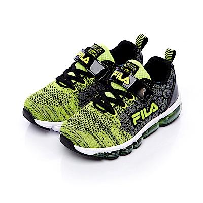 FILA KIDS大童氣墊編織慢跑鞋-黑綠 3-J808S-909